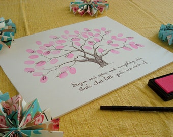 Baby Shower Thumbprint Tree Guestbook Poster - Personalized Nursery Wall Art