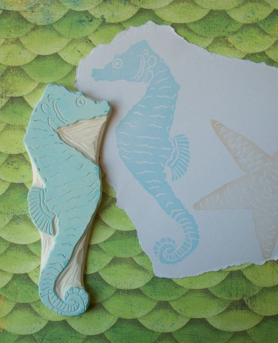 Hand Carved Seahorse Stamp