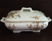 Antique Ironstone Tureen, Hand Decorated Brown Transferware Gilded, late 1800s