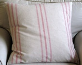 Euro Grain Sack style cotton Large Pillow Cover RED Stripes 26x26