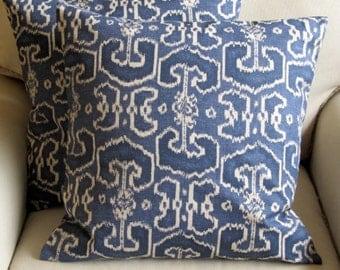 Ikat BENGALI Indian Blue  pillows 20x20 PAIR With Inserts