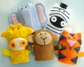 Jungle Animal Felt Finger Puppets Sewing Pattern - PDF ePATTERN for Monkey, Tiger, Elephant, Giraffe, Zebra & Carrying Case