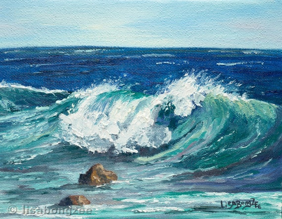 WAWAMALU WAVE Original Oil Painting Art Artwork Tropical Ocean Hawaii Beach Surf Surfing Waves Swell