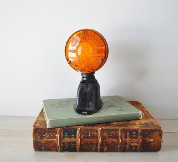 vintage Salvage Industrial orange tractor light