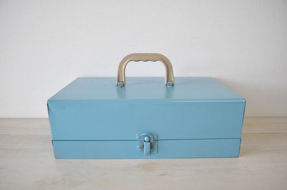 vintage robins egg blue industrial metal tool box
