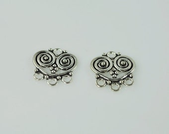 Sterling Silver Chand. Bases 20mm (pair)