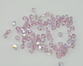 50 Light Amethyst AB Swarovski Crystals - 4mm Bicone