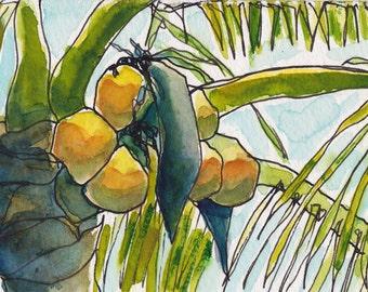 Art Painting Watercolor Tropical Coconut Palm Tree Caribbean Landscape PRINT