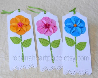 Folded Flower Gift Tags - pink, blue and yellow
