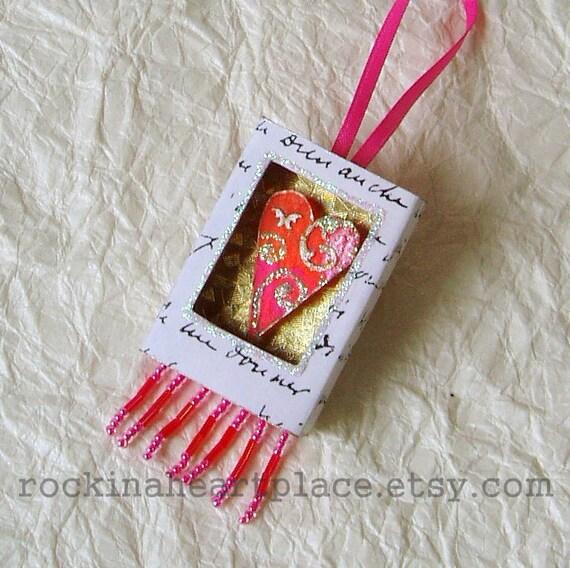 Matchbox Art - Heart in orange and pink