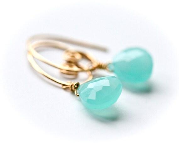 Beach - Aqua Blue Chalcedony - Gold Filled Wrapped Briolette Hoop Earrings