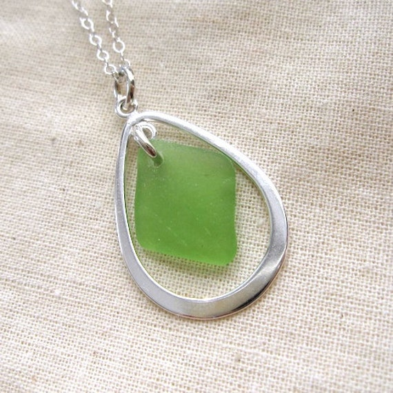 Silver Teardrop Necklace with Bright Green Sea Glass Drop