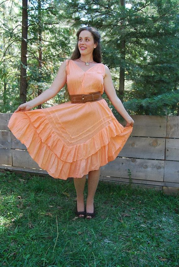 Vintage Peach Cotton Gauze Dress