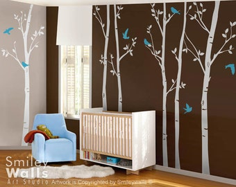 Forest Trees with Birds Wall Decal, Thin Birch Trees 100 inches - Set of 6 Vinyl Wall Decal Sticker  - Kids Nursery Decor Vinyl Wall Decal