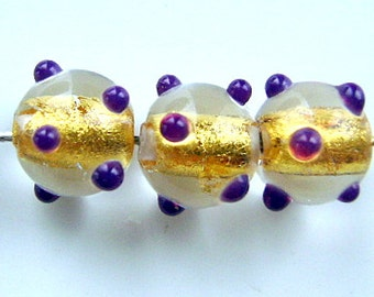 BEADS, 24k Gold, Lampwork, Czech, Glass,  Lined, Clear, 8mm, AMETHYST, Dots, Pair, 1st Quality