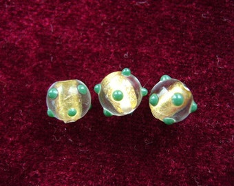 Lampwork, Czech, 24k Gold Lined, Glass,  Clear, 8mm, EMERALD, Dots, Pair, 1st Quality