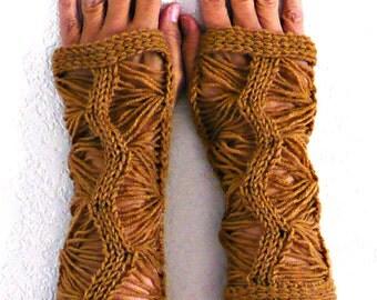 Knit Fingerless Gloves Knit Arm Warmers Knit Fingerless Mittens Knit Hand Warmers Gauntlets Knit Wrist Warmers Light Brown Lace Knit Gloves