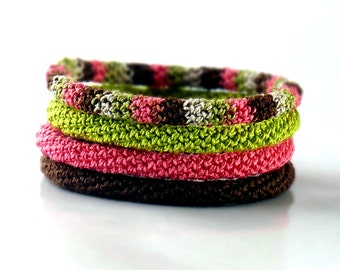 Minimal Bracelet Stacking Bangle Bracelet Pink Salmon Icord Rope Bracelet Brown Boho Bracelet Gypsy Bracelet Non Metalic Bracelet