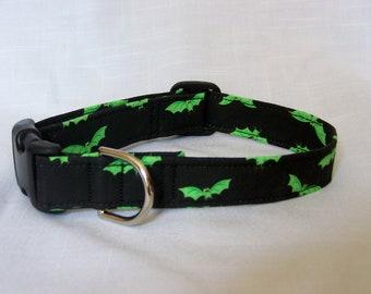 Custom Designer Dog Collar - Halloween with Green bats Cute