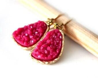Druzy fuschia color earrings - gold filled ear wires