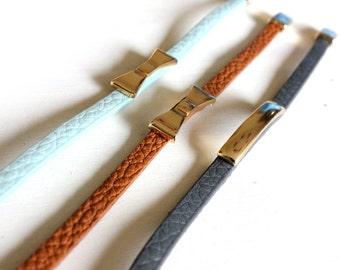 SALE Leather mint bracelet - Sweet mint bracelet with gold charms