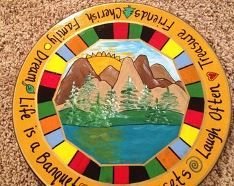 Painted lazy Susan // whimsical painted turntable lazy Susan // lake mountains sunset