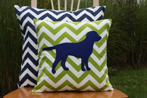 Modern Pillow Covers Etsy : Items similar to Modern Chevron Green Puppy Pillow Cover - Logan on Etsy