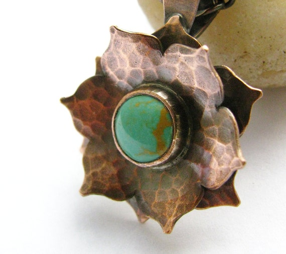Copper And Turquoise Necklace - Lotus Necklace -  Metalsmith Turquoise And Copper Wearable Art Jewelry