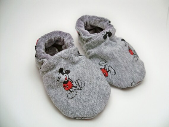 Mickey Mouse crib shoes, booties, slipper, size custom size preemie,  newborn, 0,3,6,9,12,18 months gender neutral