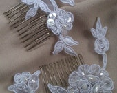2 Beaded White Lace Hair Comb Bridal Fascinator Wedding