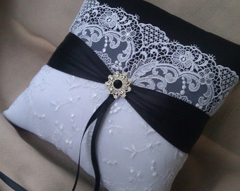 Elegant Black White Bridal Lace Rhinestone Wedding Ring Bearer Pillow