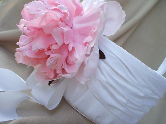 White Flower Girl Basket with Light Pink Peony Wedding Silk