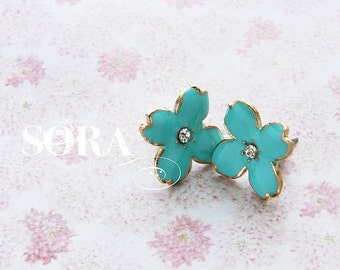 Mint studs, Bridesmaid jewelry, rhinestone post earrings, enameled Hydrangea petal studs, bridesmaid bridal wedding