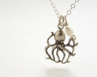Tiny Octopus charm necklace, sterling silver charm antique octopus rice pearl charm necklace