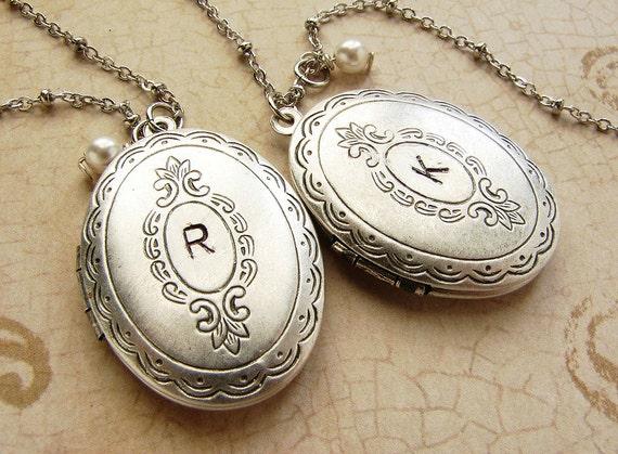 Initial locket necklace, Personalized monogram silver locket necklace personalized silver oval locket