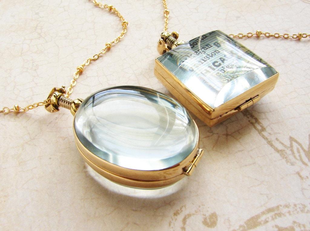 beveled glass locket necklace personalized womens necklace. Black Bedroom Furniture Sets. Home Design Ideas