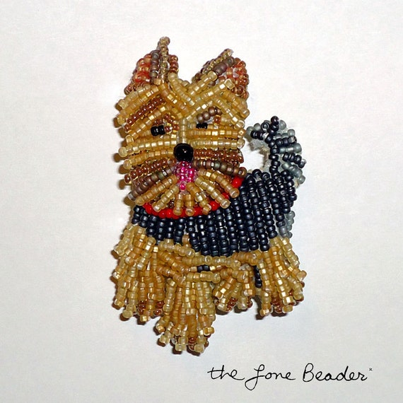 YORKIE w/ RED COLLAR Beaded Yorkshire Terrier dog art pin/ pendant (Ready to ship)