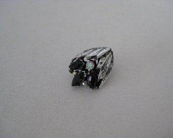 Flower Tie Tack Pin Black Aurora Borealis Rhinestone Vintage