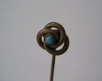 Turquoise Stick Pin Blue Brass Gold Vintage