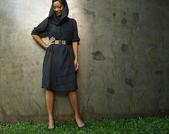 30 USD sale...Tulip...Autumn dress Black mixed silk (one size fits S-L)(1140)
