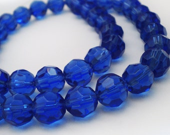 30pcs One Full strand - 10mm Faceted Cobalt Blue round Glass beads