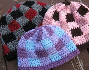 Gingham Plaid Beanie Hat - You choose colors
