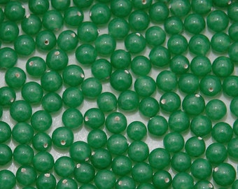 4mm vintage jade glass one-hole beads - half drilled - 36pc