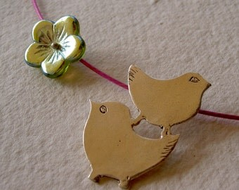 Pajaritos dobles colgante/ Little Twins birds necklace