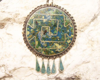 Large Taxco Sterling Pendant Brooch Neckace Vintage Jewelry N4711