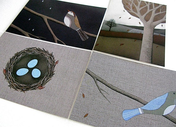 art postcard set . birds, nest and trees . pack of 4 nature-inspired postcards by natasha newton