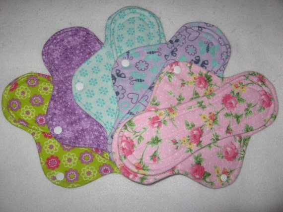 "Cloth menstrual pads set of five 10"" for medium to heavy flow"