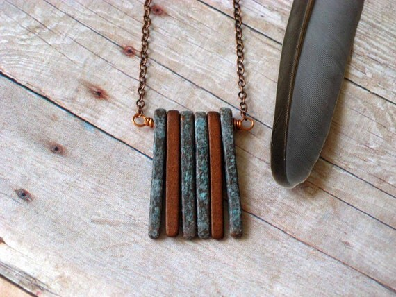 Spikes Pendant in Copper and Verdigris Patina  Modern Industrial Necklace   Ceramic Spikes Pendant  Gift Box
