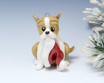 Pit Bull American Christmas Ornament Figurine Santa Hat Porcelain