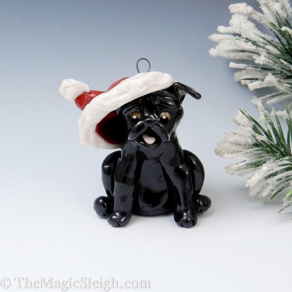 Pug Ornament Black with Santa Hat Handmade Porcelain